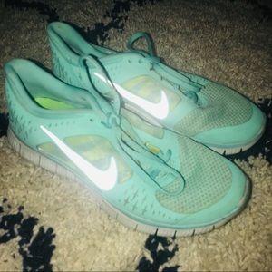 Nike Free Run Aqua Tiffany Blue Athletic Sneakers